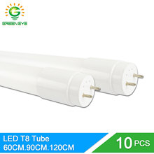 GreenEye 10pcs/lot Nano Material LED T8 Tube 10w 60cm 2Ft 220v LED Fluorescent Light Tube Lamp milky cover Warm Cold White 2835