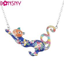 Bonsny Maxi Statement Chain 2016 Colorful French Cat Necklace Enamel Jewelry Pendant Fish Alloy Charm Brand For Women Girl New
