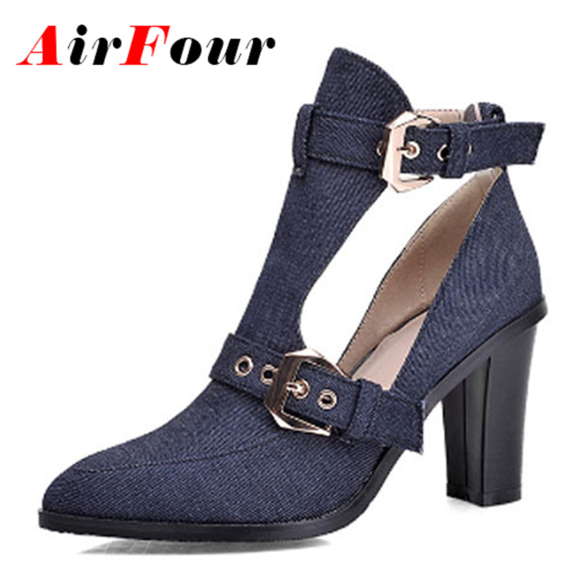 Airfour Denim Boots for Women Buckle Pointed Toe High Heel Ankle Boots New Summer Boots Fashion Breathable Banquet Martin Boots<br><br>Aliexpress