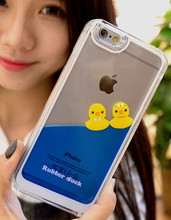 1PCS NEW Cute Rubber Duck Tank Liquid Aquarium Swimming Case Hard Plastic Back Cover For Apple iPhone 5 5S SE Cell phone cases