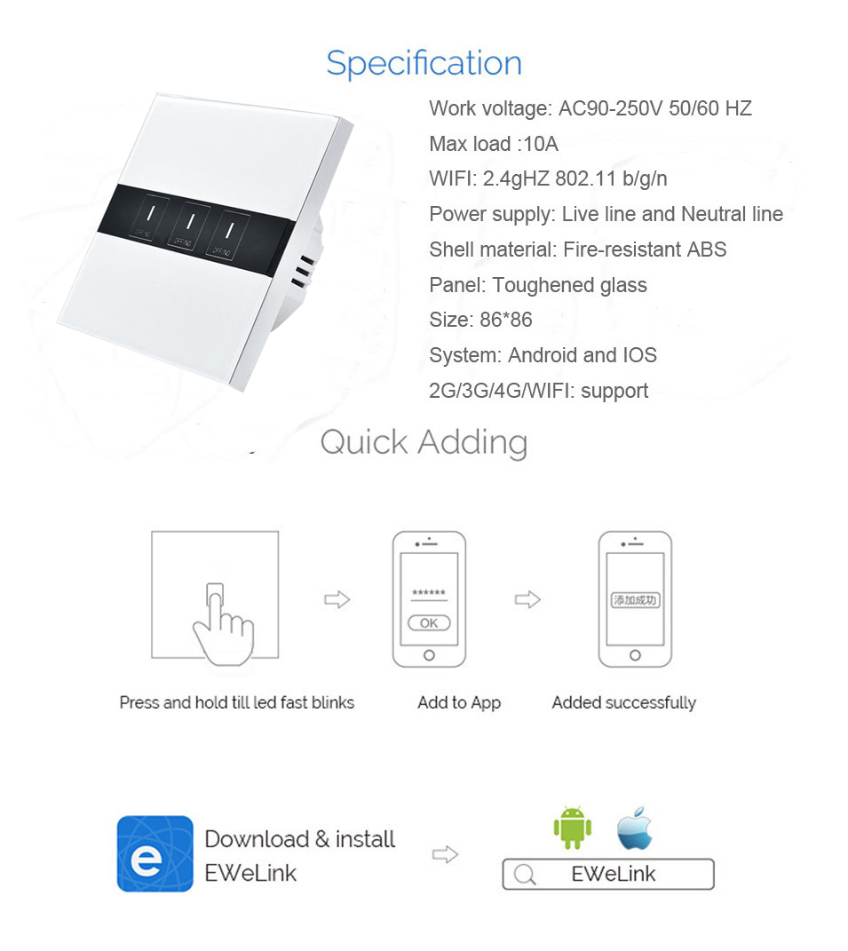 Eruiklink Smart Switch 3 Gang WiFi 86 Type EU Standard Wall Touch Light Switch Smart Home Automation Module Remote Control