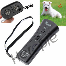 Heropie Black Trainer Remote Pet Double Heads Repeller Training Device with LED Light Outdoor Dog Training Collar Free Shipping(China)