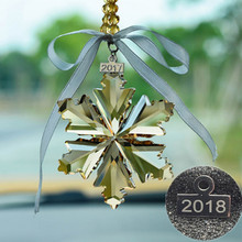 2018 fashion Crystal Snowflake Car Pendant Car Rearview Mirror Ornaments Interior Accessories gift Interior Car-styling(China)