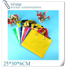 25*30+6cm 50 pieces/lot retail design Logo available plastic Shopping Bag for hair accessories/clothes/shoes accept Customer(China)