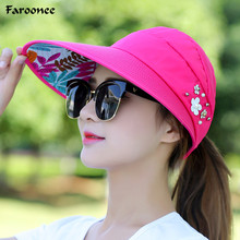 Summer Sun Hats for Women Lady Wide Large Brim Floppy Beach Print Folding Sun Protection Ultraviolet-proof Summer Hats CapsS6037