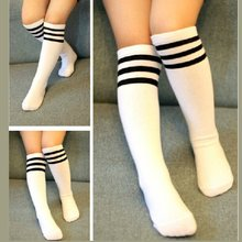 Hot baby boys and girls high school socks College wind black and white striped heap sock students football socks(China)
