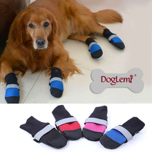 4pcs/set Pet Dog Shoes 3 Color Ultra-Wear Oxford Fabric Large Dog Boots Non-slip Leather Waterproof Protective Rubber Rain Boots(China)