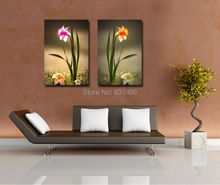 Factory Price -2 pieces/panles  Narcissus flower pictures print on canvas for  modern home decoration,free shipping