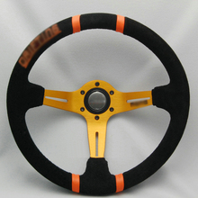 Savanini New Universal Sport 340mm Suede Leather Deep Dish Steering Wheel Orange Strip(China)