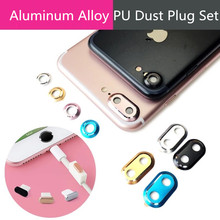 4 in 1 Rear Camera Lens Protector Cover Ring Bumper Home Button Decoration Protection Rings USB Charging Dust Plug For iPhone 8(Hong Kong)