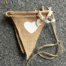8 PCS Vintage Natural Wedding Jute Heart Triangle Flags Banners Wedding Party Chic Bridal Shower Decorations