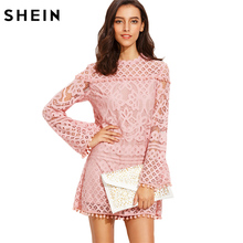 SHEIN Woman Autumn Straight Dresses Ladies Pink Crochet Pom-pom Trim Round Neck Long Sleeve Casual Fall Dress