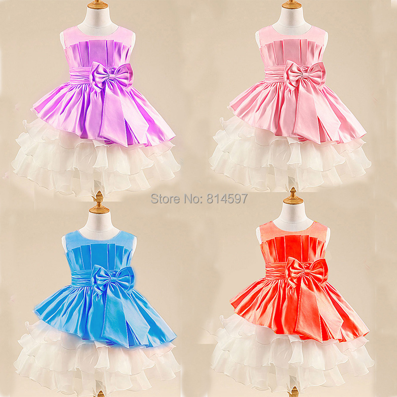 New 2017 Summer Childrens Flower Fhshion Dresses Bow Sleeveless Ball Gown Communion Dress girls Princess Party Pageant Dresses<br><br>Aliexpress