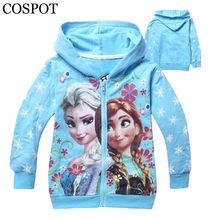 COSPOT Baby Girls Spring Hooded Coat Girl's 100% Cotton Hoodie 3D Printer Sweatshirt Kids Fashion Cartoon Jacket Outfit 28F
