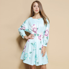 2016 autumn new products women's casual elegance roses printed high waist long bat sleeve short dress