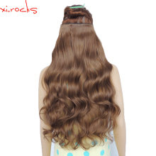 2 Piece Xi.Rocks 5 Clip in Hair Extension 70cm Synthetic Hair Clips Extensions 120g Curly Hairpin Hairpiece Ginger Brown Color10