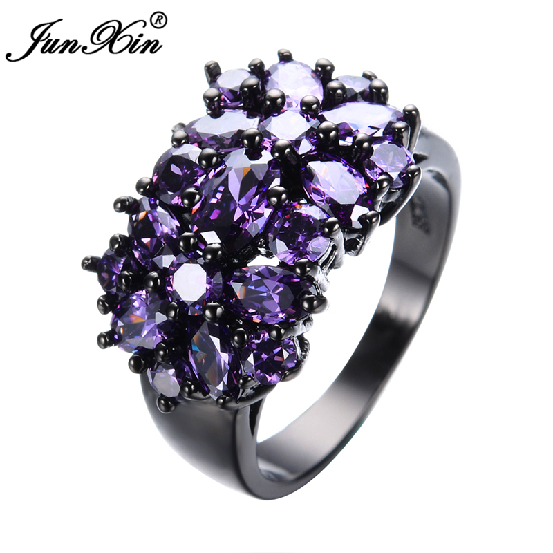 Elegant Purple Black Gold Filled CZ Ring Unique Design Vintage Party Wedding Rings For Women Christmas Fashion Jewelry RB0040(China)