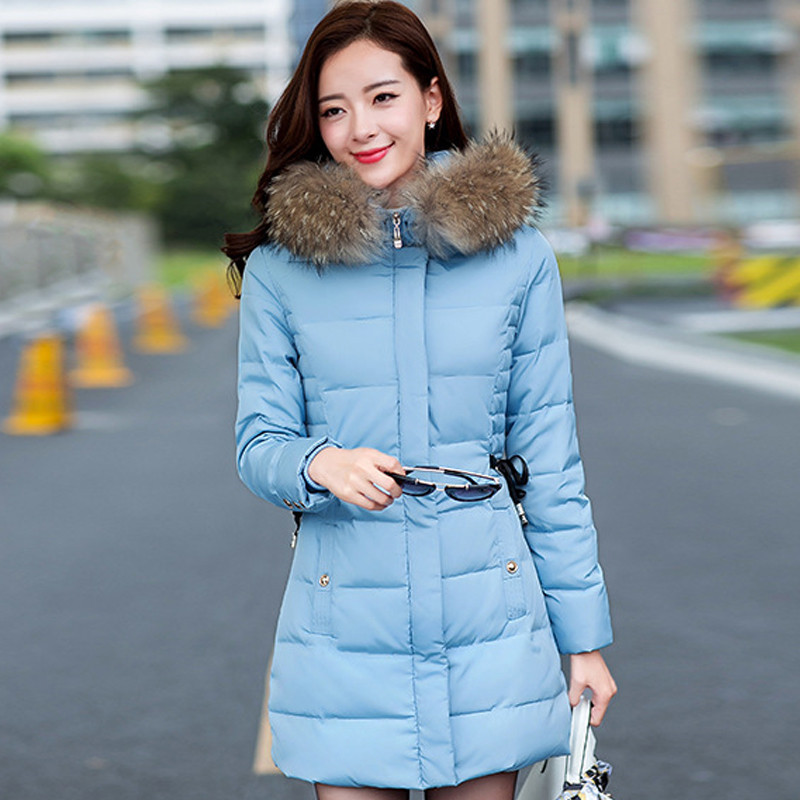 New Fashion Winter Jacket Women Warm Cold Women Outwear Parka slim waist Raccoon Fur Collar Hooded Female Winter Coat Îäåæäà è àêñåññóàðû<br><br>