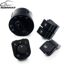 Factory direct sales! Power Headlight Mirror Window Control Switch Button 4PCS for VW Caddy Jetta Golf 5 MK5 V Puls Passat B6(China)