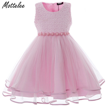 Mottelee Girls Dress Vintage Beading Frocks Children Wedding Party Dresses Voile Kids Prom Dress Baby Birthday Clothing for Girl(China)