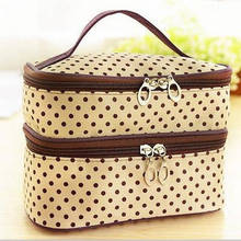 New Fashion Double layer Dots Cosmetic Bag Makeup Tool Storage Bags Multifunctional Storage Package Container Pouch Travel