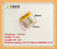582728 400mah 3.7V  lithium-ion polymer battery quality goods quality of CE FCC ROHS certification authority