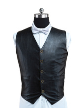 Free Shipping  Halloween Costume Quality Black Leather Single Breasted Victorian Steampunk Waistcoat