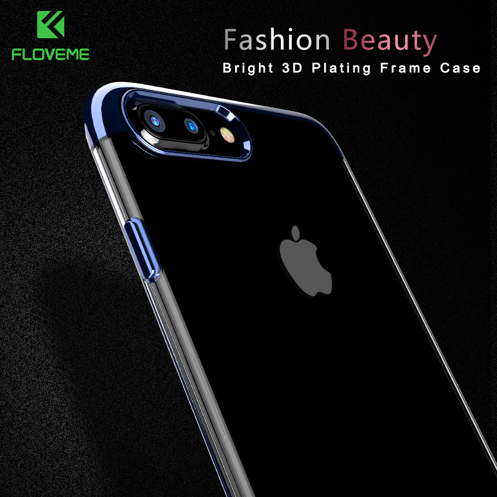 FLOVEME Phone Case For iPhone 7 6 6S Plus 3D Transparent Plating Cover For iPhone 7 iPhone 6 6S Case Soft TPU Silicon Shell Capa(China (Mainland))