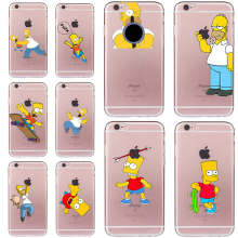 Simpsons Homer Case for iphone 6 6s 5 5s SE 7 plus Soft TPU Silicone Transparent Cover Funny Cheap Fundas Ultra-thin Coque Cute(China)