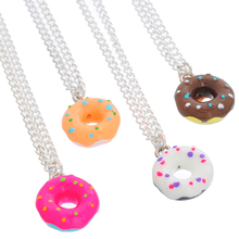 Buy 4PCs Adjustable Donuts Handmade Resin Charm Pendants Necklaces Women Cute Paint Pink Donut Jewelry Summer Holiday for $1.33 in AliExpress store