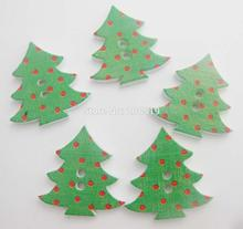 WBNAWW Printed wood buttons christmas Tree green button 200pcs DIY sewing supplies