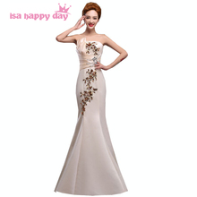 ladies formal vestidos festas mermaid champagne dresses gowns embroidery evening wear womans long dress party fashion 2017 H2118