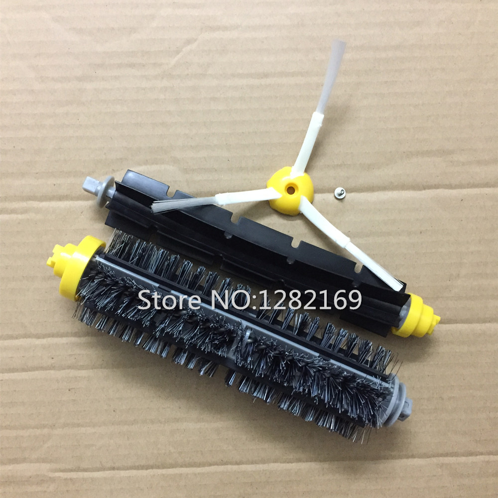 1x Flexible Beater Brush +1x Bristle brush +1x Side Brush Srew iRobot Roomba 600 700 Series Vacuum Cleaner Robot 770 780 790