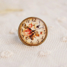 Cartoon Animal Stylish Women's Adjustable Ring Vintage Squirrel Lamb Bear Clock Bird Giraffe Element Ring