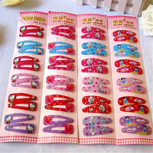 2017 Special Offer 12 Pcs Cute Korean Hairclip Kitty Animals Hair Clip for Girls Accessories Flower Kids Hairpin
