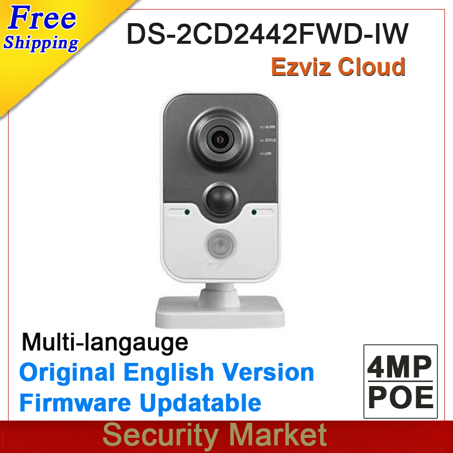 Original english version 4MP IR Cube Network Camera DS-2CD2442FWD-IW replace DS-2CD2432F-IW CCTV IP wifi IPC DS-2CD2442FWD-IW(China (Mainland))