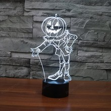 3D lights pumpkin people colorful touch LED visual decoration lamp Halloween home decoration  gift