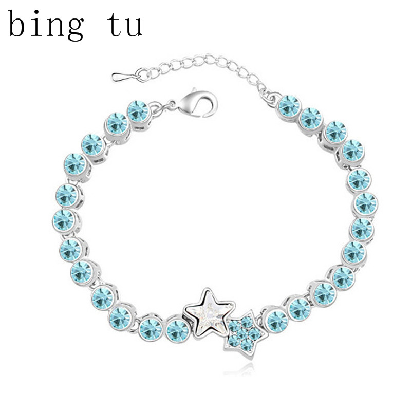 Bing Tu 3 Colors Handmade Jewelry Silver Color Crystal Chain Link Bracelets With Stars Women Costume Accessory(China (Mainland))