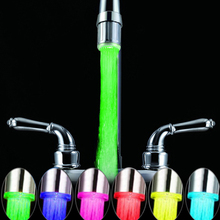 7 Colors LED Light Change Faucet Shower Water Tap Temperature Sensor Water Faucet Glow Shower Left Screw with Converter(China)