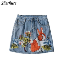 Buy 2018 Spring Women Skirts Flower Cartoon Embroidery A-Line Women Denim Skirts Slim Bodycon Mini Skirts Saia Faldas Kawaii Cute for $23.90 in AliExpress store