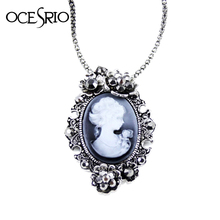 Retail / Wholesale! Vintage silver jewelry cameo flowers long necklaces pendants with stone for women 2016 brand gothic nke-g71