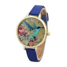 Hot Sale Blue Hummingbird Pattern Women Watches Leather Band Analog Quartz Watch Fashion Ladies Wrist Watches for Women Clock