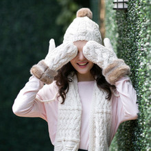 Winter student female hat scarf glove three pieces of a body warm and lovely extra thick suit(China)