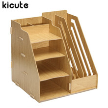 Kicute Multifunctional Office Wood Desk Organizer File Holder Rack Folder Book Document Storage Bracket Magazine Container