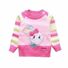 New Baby Girls/Boys Sweaters Winter 2017 Cotton Kids Shoulder Buckle Pullover Knitted Clothes For 6M-3T Cartoon rabbit Sweater(China)