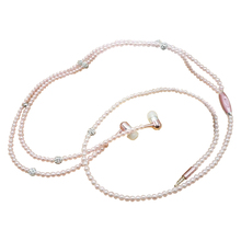 Marsnaska Nice Luxury Bling Diamond earphone Pearl Necklace Chain In-Ear Earphone Stereo With Mic For iphone 6 6s samsung(China)