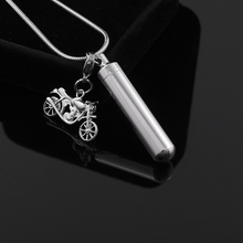 IJD9871 Personalized Blank Cylinder Urn Neckace With motorcycle Charm Stainless Steel Cremation Ashes Pendant Jewelry For Human