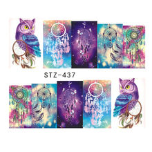 1 sheet New Halloween Night Owl Campanula Pattern Sticker Water Transfer Nail Art Stickers Nails Care Decals JISTZ437-438