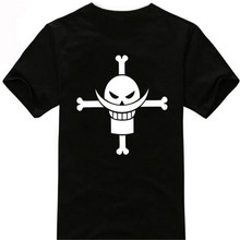Cartoon One Piece T-shirt white beard pirates group cotton short sleeved clothes