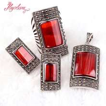 Rectangle Red CZ Crystal Beads Antiqued Tibetan Silver Classical Fashion Style Female Short Jewelry,Free Shipping(China)